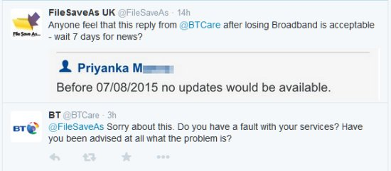 Example of feedback from @BTCare twitter