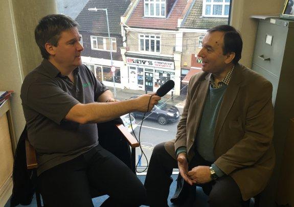 Pete interviewing meteorologist Jim Bacon