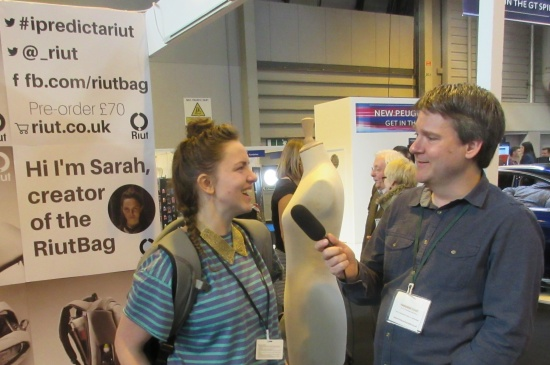 Pete interviewing Sarah from Riutbag at Gadget Show Live