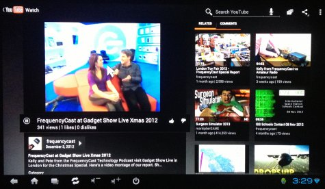 Watching YouTube on the Google Android 4.0 TV Cloud Stick