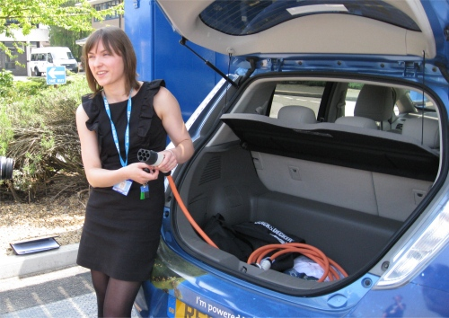 Katie, demonstrating the charging cable