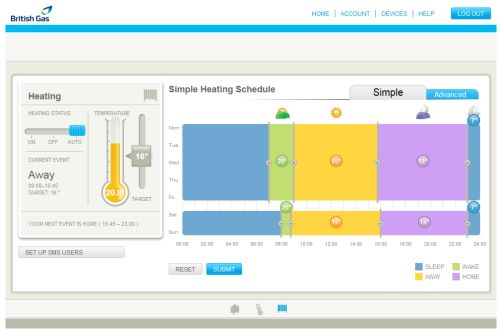 On-screen Heating Schedule Management