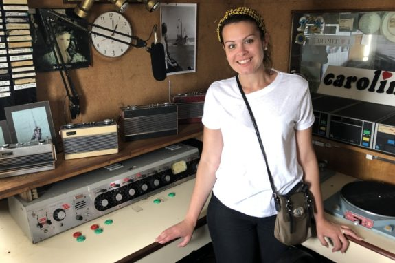 Kelly in the historic Radio Caroline studio