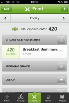Fitbit iPhone App Food input