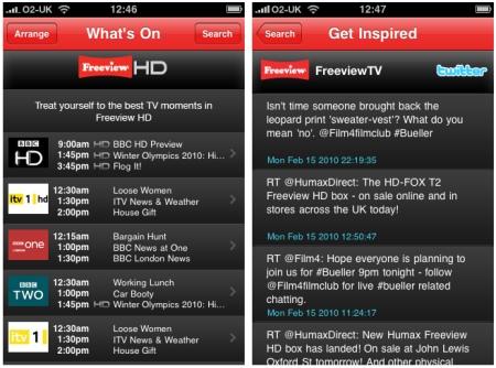Freeview iPhone app screenshots