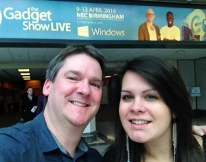 Pete and Kelly, outside Gadget Show Live 2014