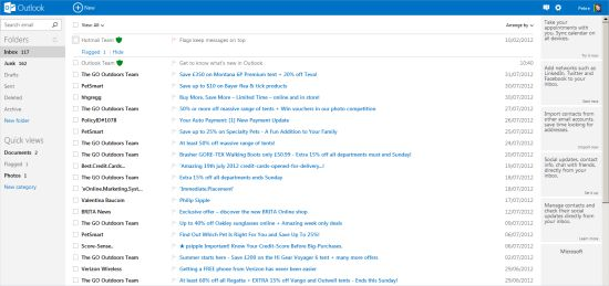 The new-look Microsoft Outlook.com mailbox, replacing Hotmail.com