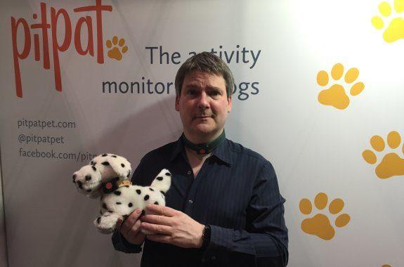 Pete, wearing the PitPat Pet Tracker