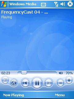 Screenshot of podcast on Windows Mobile