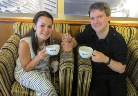 Kelly and Pete with wappuccino cups