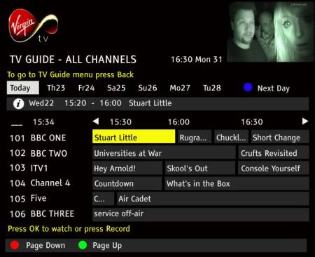 Virgin Media EPG