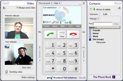 Voice and video over a BT Softphone