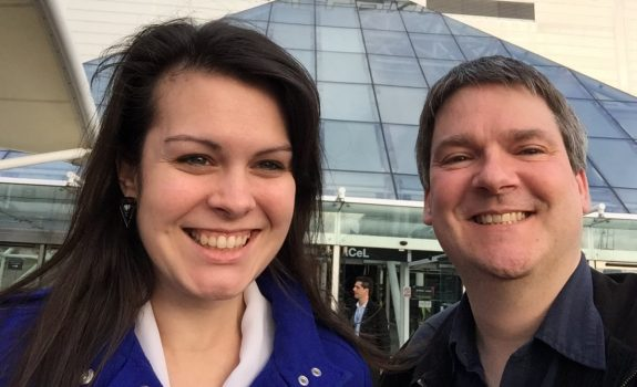 Kelly and Pete celebrating 10 years at London's Excel Centre