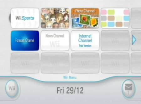 The Nintendo Wii main menu